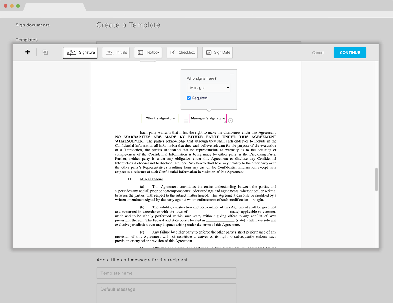 template for documentation